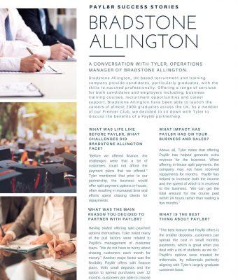 Payl8r Success Stories: Bradstone Allington
